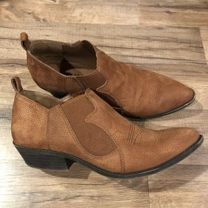 Lucky Brand Joelle Brown Leather Bootie, Size 8M